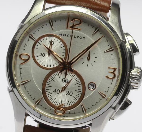 Hamilton jazz master chronograph H326120 silver clockface quartz leather belt men