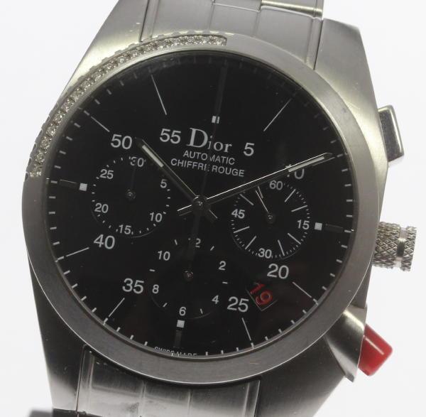 【Dior】 ディオール シフルルージュ CD084612 ダイヤベゼル クロノグラフ 自動巻き ☆【18104】【中古】【event】