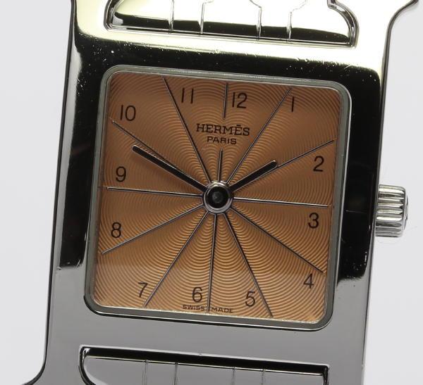 美品☆ エルメス Hウォッチ HH1.210 ドゥブルトゥール革ベルト付 ブレス QZ レディース腕時計【18063】【18125】【中古】【event】