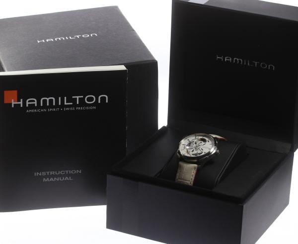 汉密尔顿爵士主人骨架H324050自动卷纯正皮革皮带女士☆箱子