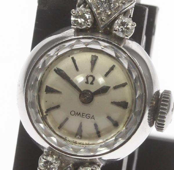 【OMEGA】オメガ K18WG カットガラス ラグダイヤ 手巻き cal.580 社外ブレス レディース【中古】