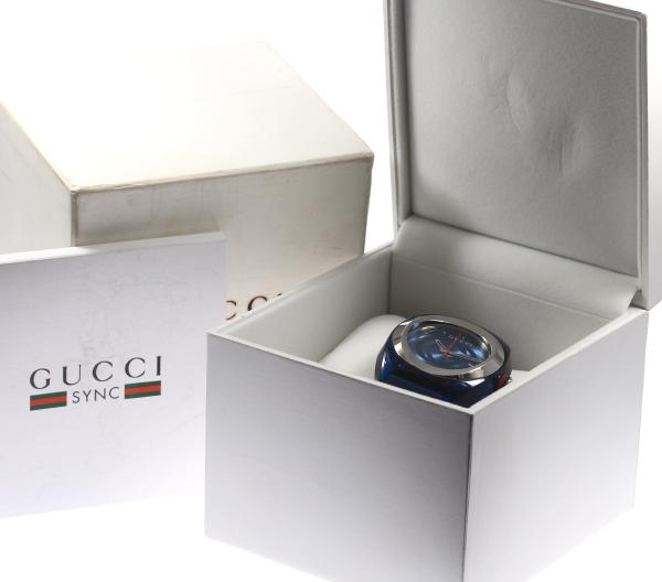 32fe9d701f8 CLOSER  Gucci SYNC XXL YA137104 QZ rubber belt men ☆ box