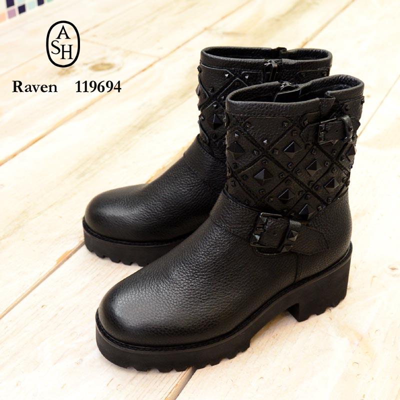 【送料無料】ASH(アッシュ)Raven 119694(エンジニア ブーツ スタッズ 厚底 レザー)
