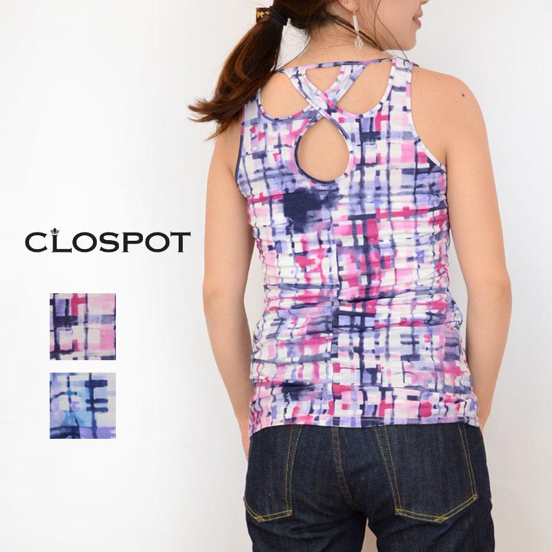 【メール便無料】Clospot(クロスポット)geometry print tanktop LER-1856C(全2色)(F)[幾何学柄 タンクトップ レディース カットソー インナー]
