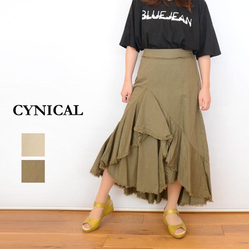 【SALE30%OFF】【送料無料】CYNICAL(シニカル)綿麻アシメスカート81296047(綿 麻 アシメ フレアー レディース)
