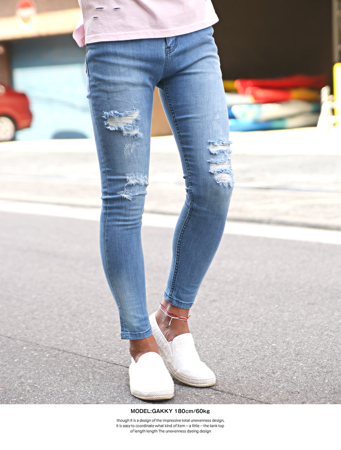 Shop Old Navy's Mid-Rise Raw-Edge Rockstar Ankle Jeans for Women: Great for all shapes, our super skinny with unbelievable stretch to flatter all.,Snap closure; zip fly.,Scoop pockets and coin pocket in front; patch pockets in back.,Heavy frayed rip at right knee and double rips at left knee.,Raw-edge hem.