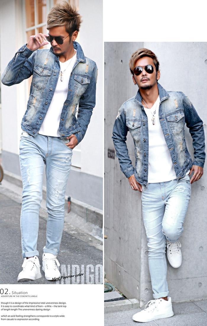 Clothes Unit Bitter Denim Jacket Mens G Jean Jacket Denim Damage