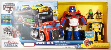 Deluxe Set Transformers Rescue Bots Optimus Prime with Trailer and Bumblebee and 2 human figures Hasbro トランスフォーマー