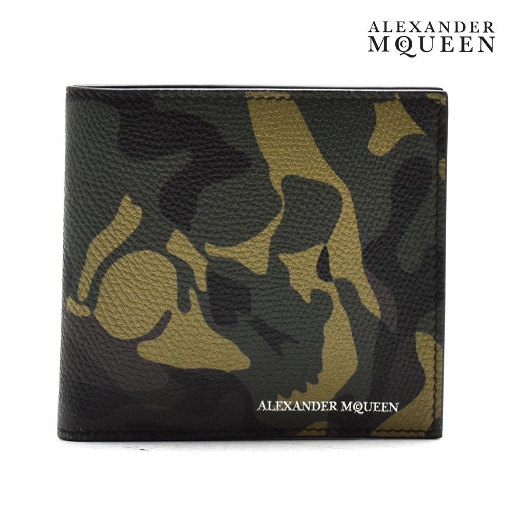 【ポイント3倍対象商品】アレキサンダーマックイーン ALEXANDER McQUEEN 338833 D760N/1075 二つ折り財布 カモ カモ柄 迷彩 カモフラ スカル メンズ【送料無料】