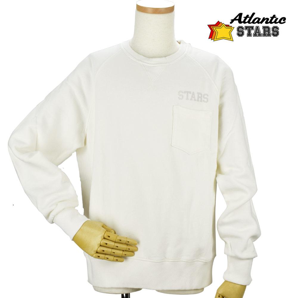 アトランティックスターズ Atlantic STARS AFM1707 スウェット トレーナー ポケット 裏起毛 ホワイト メンズ【送料無料】