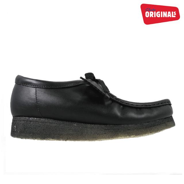クラークス ワラビーロー ブーツ ブラック レザー 黒 CLARKS 26103756 WALLABEE LO BOOT BLACK メンズ 【送料無料】