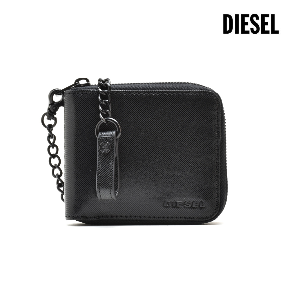 ディーゼル DIESEL X05997/P0114 T8013 WALLET BLACK ラウンドファスナー財布 コンパクトウォレット ウォレットチェーン ブラック 黒 メンズ【送料無料】