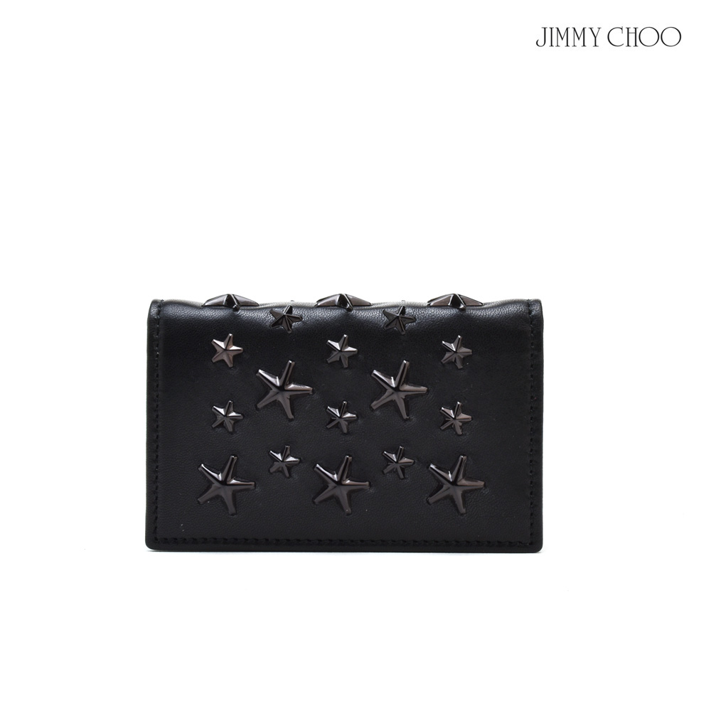 ジミーチュウ JIMMY CHOO NELLO ENL/BLACK/BLACK スタースタッズ付き カードケース パスケース 名刺入れ ブラック 黒 メンズ レディース【送料無料】