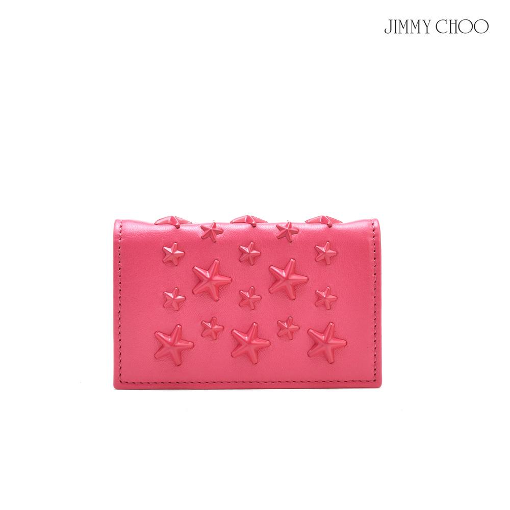 ジミーチュウ JIMMY CHOO NELLO ENL/FLAMINGO/FLAMINGO スタースタッズ付き カードケース パスケース 名刺入れ ピンク系 レディース【送料無料】
