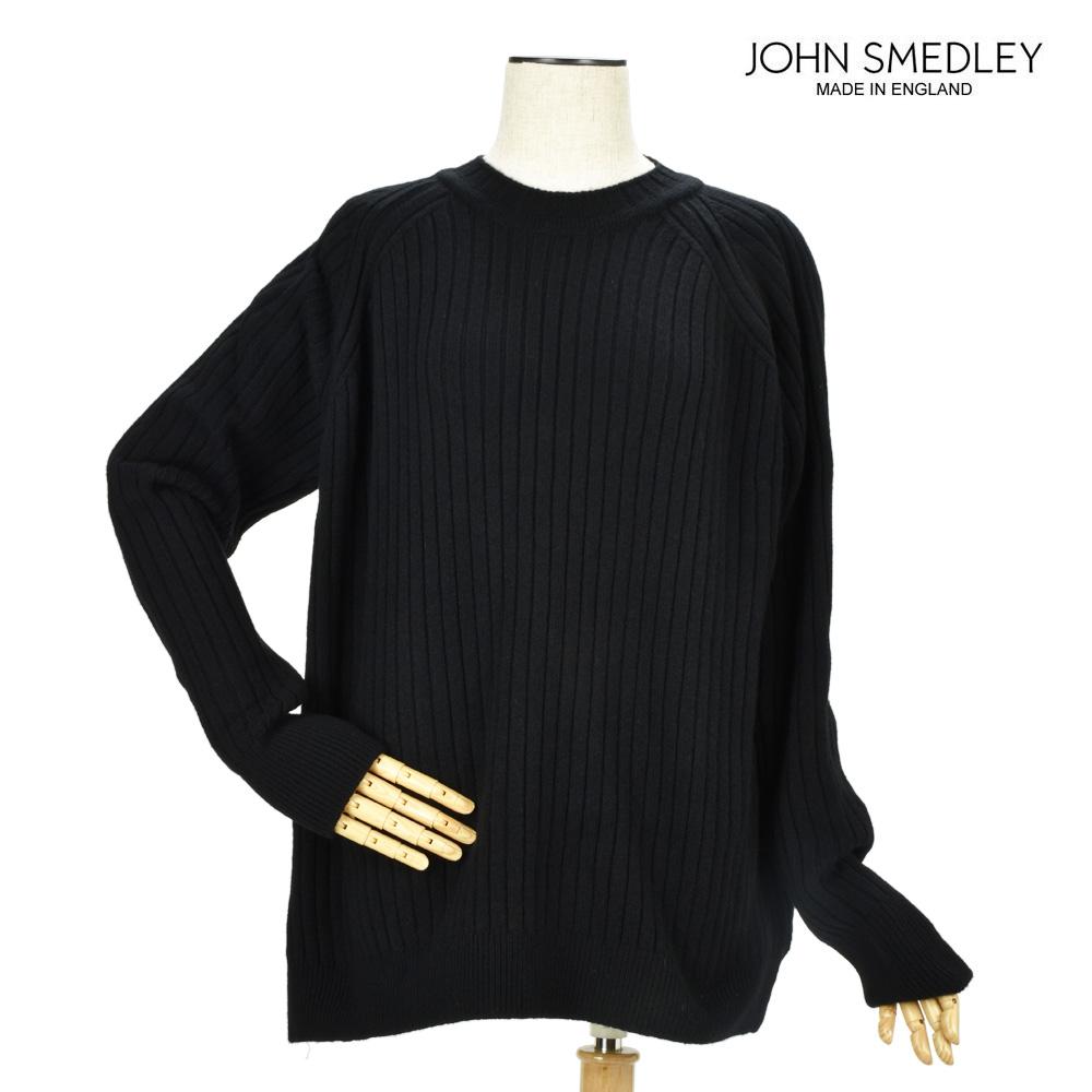 ジョンスメドレー JOHN SMEDLEY BALEY BLACK カシミヤ混 長袖ラウンドネック リブ ニット セーター ブラック 黒 レディース 【送料無料】