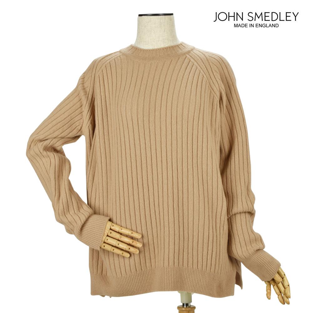 ジョンスメドレー JOHN SMEDLEY BALEY LIGHT CAMEL カシミヤ混 長袖ラウンドネック リブ ニット セーター ライトキャメル レディース【送料無料】