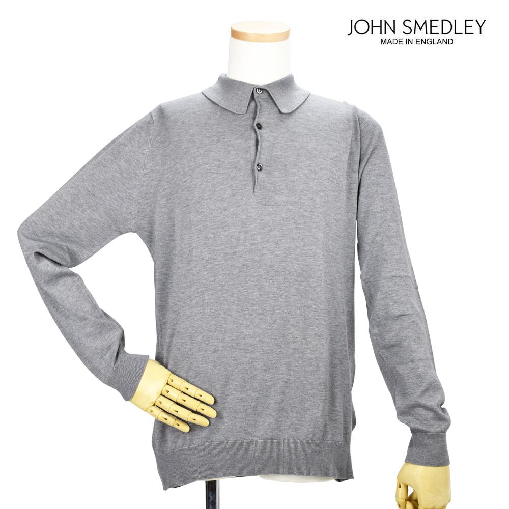 ジョンスメドレー JOHN SMEDLEY BRADWELL SILVER ブラッドウェル 長袖 ポロシャツ シルバー メンズ【送料無料】