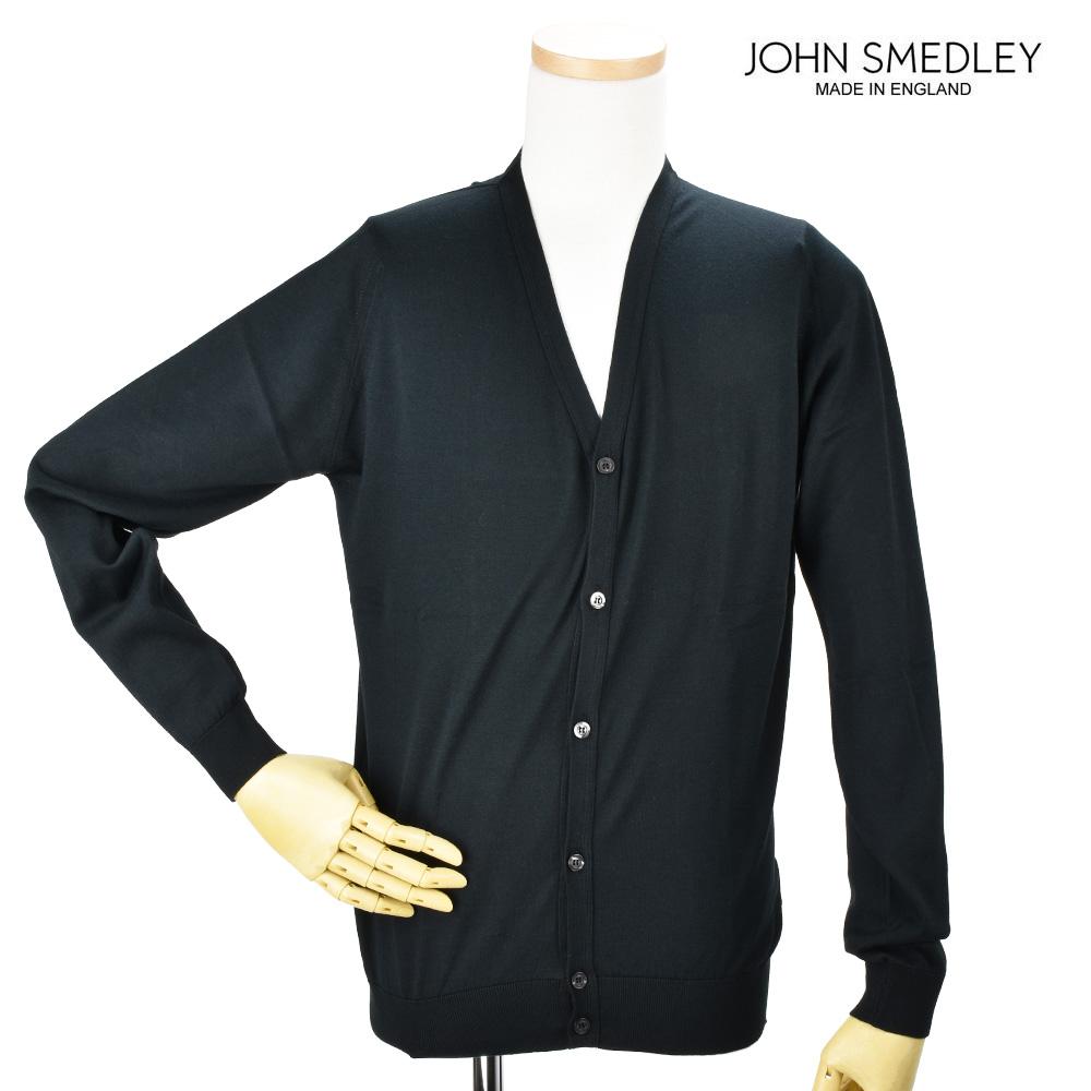 【ポイント3倍対象商品】ジョンスメドレー JOHN SMEDLEY WHITCHURC BLACK カーディガン セーター ブラック 黒 メンズ【送料無料】