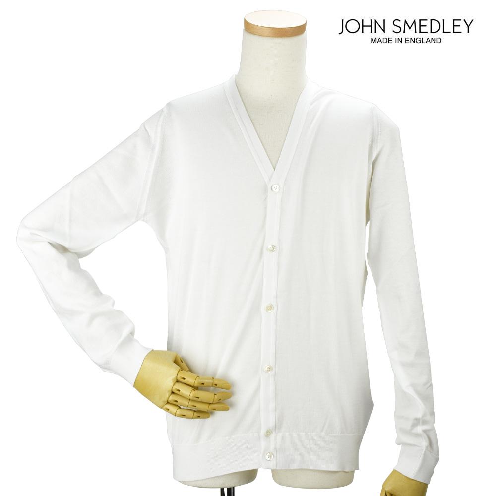 【お買い物マラソンSALE 3/19 18:00~3/31 11:59まで】ジョンスメドレー JOHN SMEDLEY WHITCHURC WHITE カーディガン セーター ホワイト 白 メンズ【送料無料】