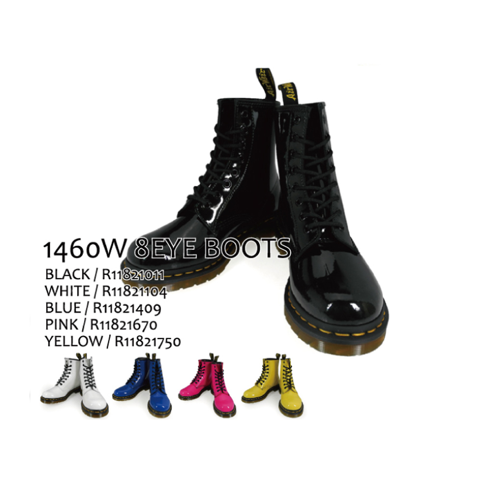 【500円OFFクーポン配布中 5月11日11:59まで】ドクターマーチン Dr.MARTENS 1460W 8EYE BOOTS PATENT LEATHER r11821011 r11821104 r11821409 r11821670 r11821750 BLACK・WHITE・BLUE・PINK・YELLOW レディース 【送料無料】