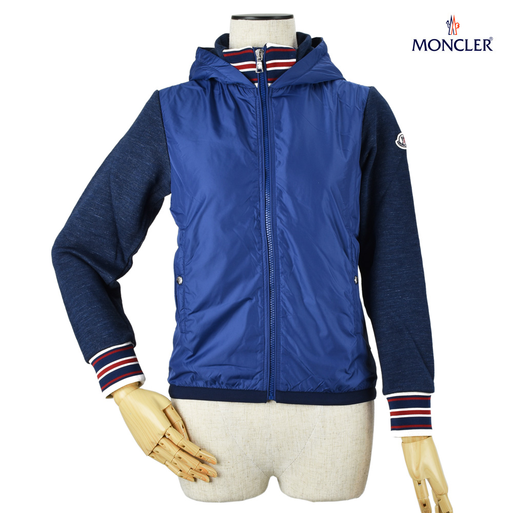 モンクレール MONCLER 84099.05 80417/74B スウェット切替 ウインドブレーカー ジップアップ パーカー ブルー 青 キッズ ボーイズ レディース CARDIGAN Blue  6