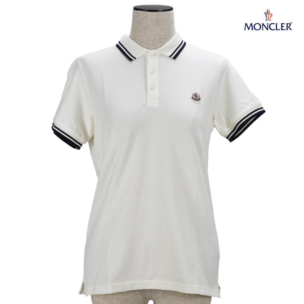 063743577 Monk rail polo shirt tops short sleeves one point logo embroidery white  white Lady's MONCLER 83065.05 ...