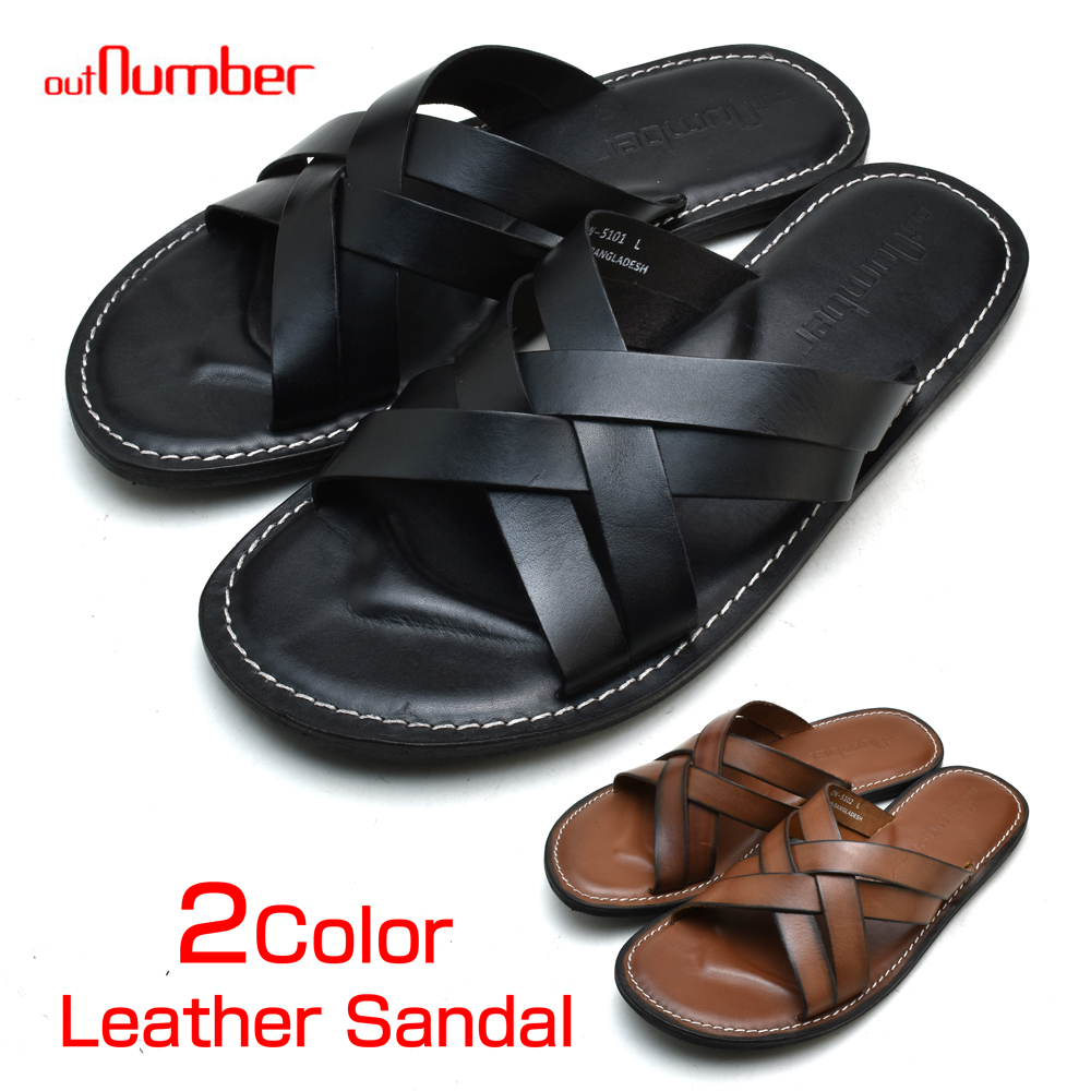 9da6c45cf CLOUDMODA  Use of leather sandals men genuine leather black camel ...