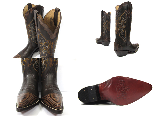 2cbb3394ff6 ピストレロ PISTOLERO 8001 western boots   cow boydark brown python X leather western  boots dark brown cowboy boot leather embroidery stitch