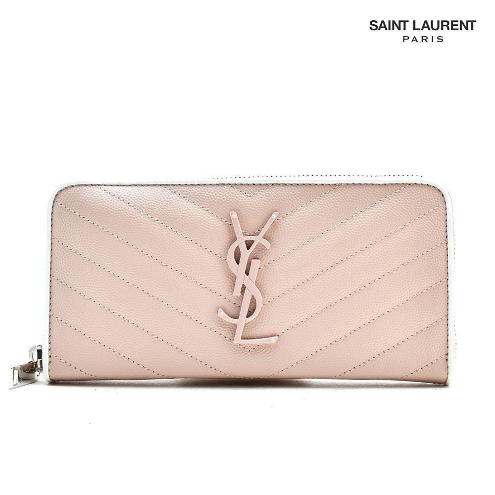 サンローラン YSL Saint Laurent 358094 BOWF2/6983 ラウンドファスナー長財布 カサンドラロゴ ピンク PINK レディース 【送料無料】
