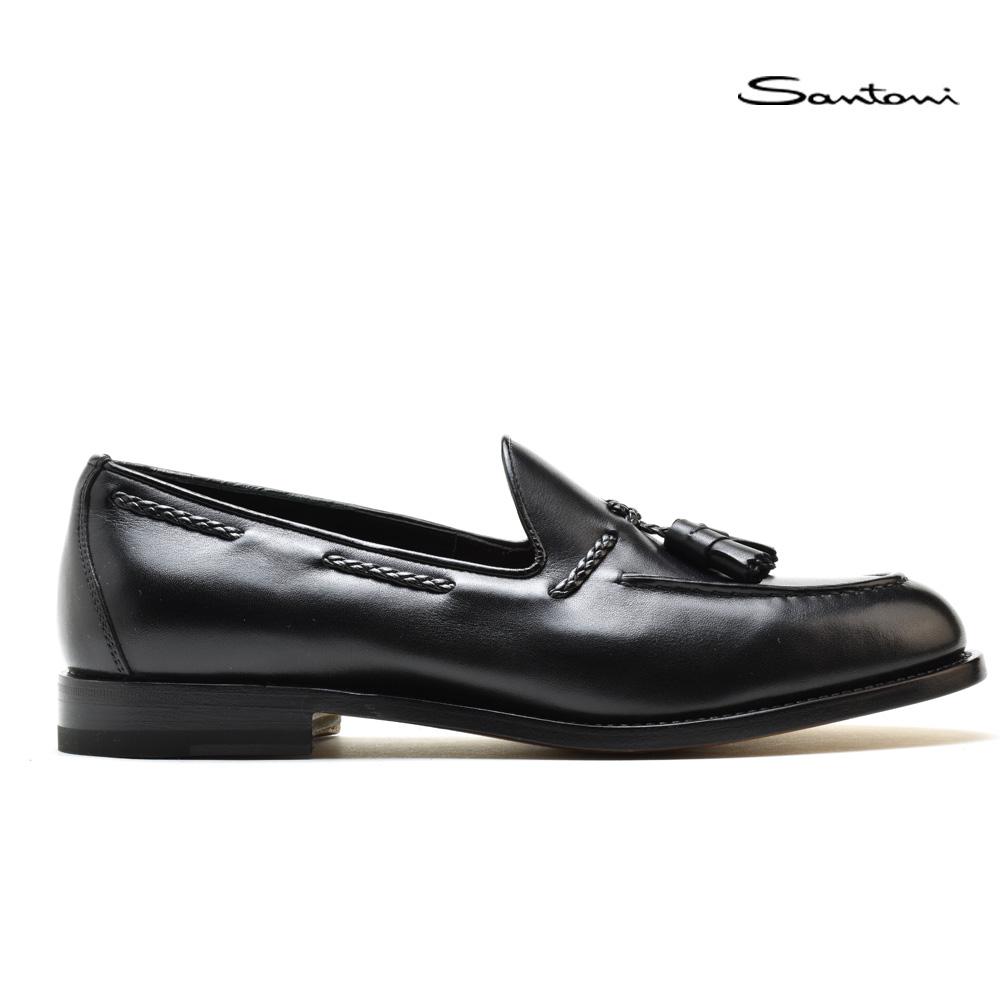 【500円OFFクーポン配布中 5月11日11:59まで】サントーニ タッセルローファー スリッポン 革靴 ブラック 黒 メンズ Santoni MCHI12880LC5NIE0NO1 BLACK【送料無料】
