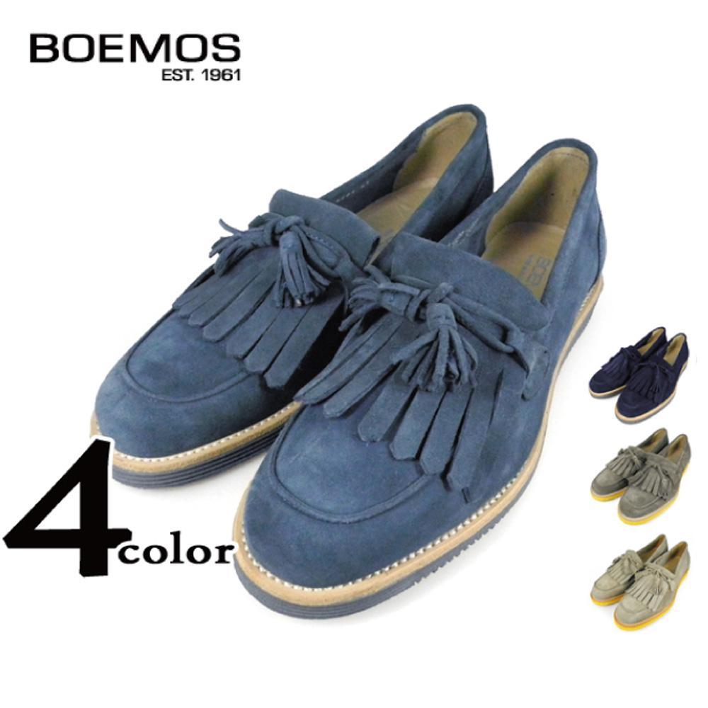 ボエモス BOEMOS VIVEL E3-4281 JEANS NAVY KARIBU EARTH タッセル ローファー スエード 本革 イタリア製 革靴 紳士靴 メンズ
