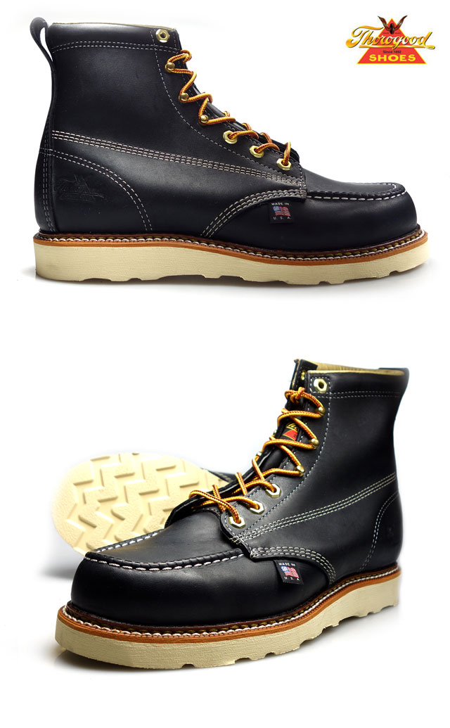 ffb0c367814 Thorogood by THOROGOOD 6 MOC TOE black 814-6201 HANTING BOOTS Thorogood by  hunting boots oiled leather Black Black D wise