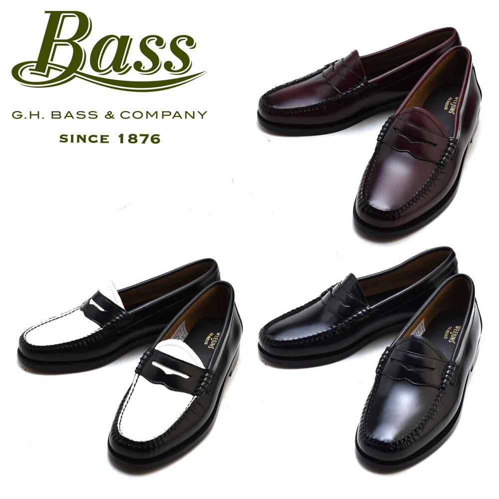 【はじめよう!!夏支度】【父の日】ジーエイチバス G.H.BASS PENNY BLACK WHITE WINE ペニー ブラック ホワイト ワイン ローファー カジュアル ドレス シューズ 革靴 レディース ギフト プレゼント ラッピング