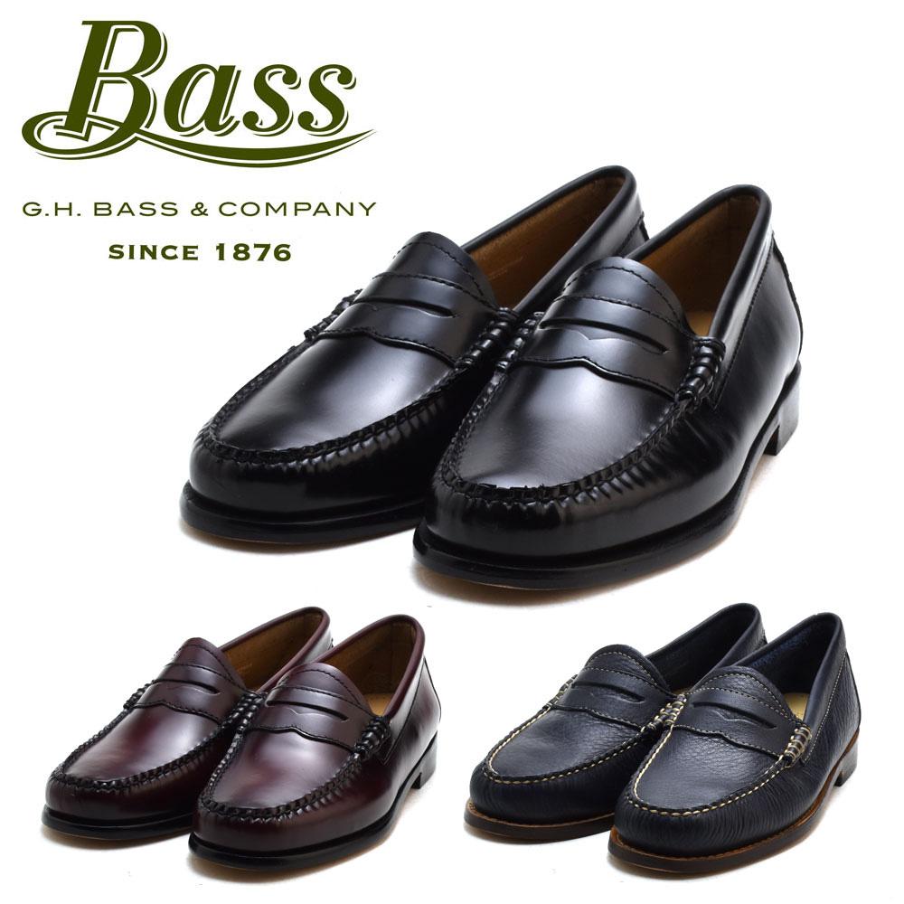 世界初のローファーブランド ジーエイチバス G.H.BASS WHITNEY ホイットニー ブラック バーガンディー 送料無料 実物 ローファー 革靴 世界の人気ブランド レディース コードバン ネイビー