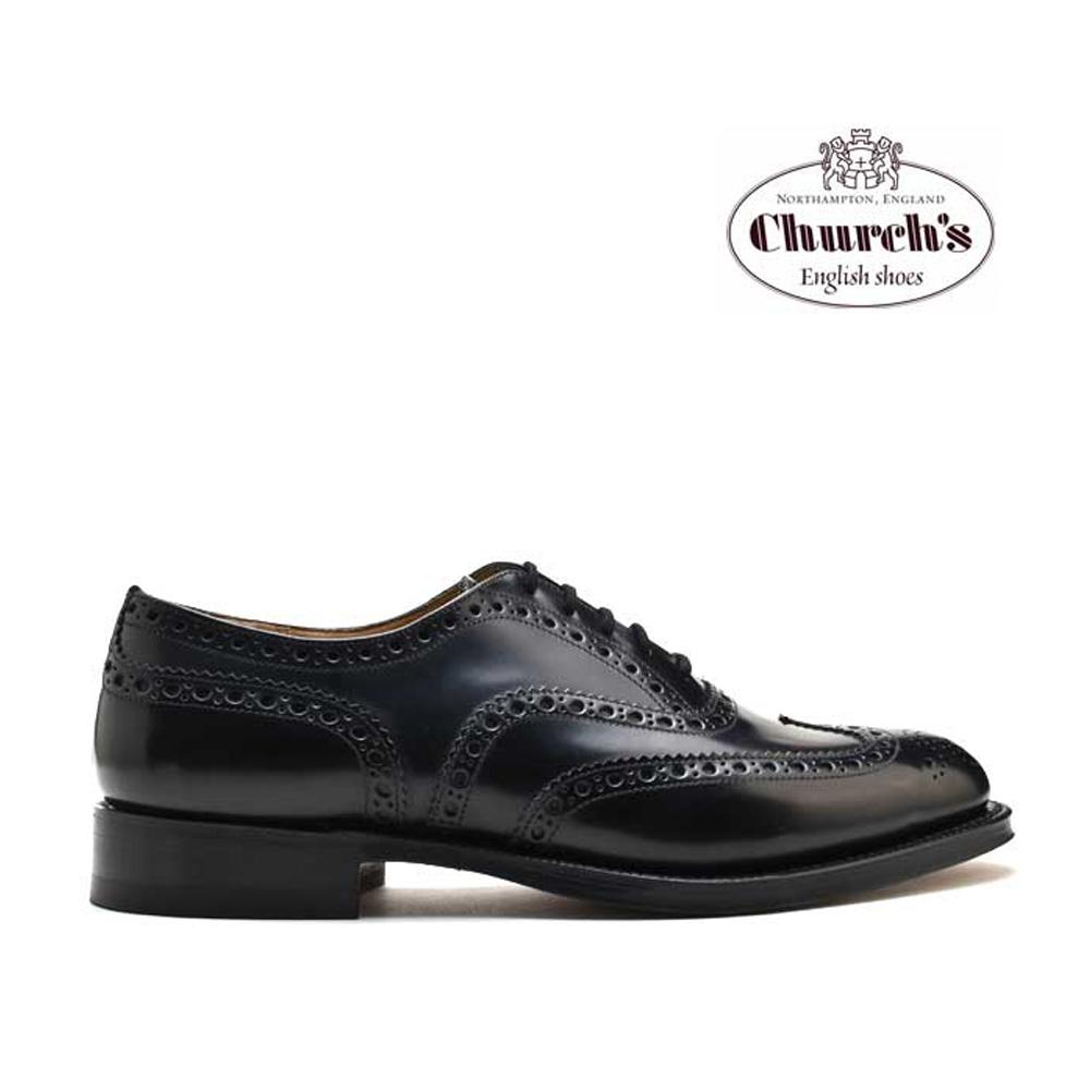 【はじめよう!!夏支度】チャーチ Church's BURWOOD BLACK POLISHED BINDER バーウッド ブラック ポリッシュバインダー ブラック 黒 ウィングチップ ドレスシューズ 革靴 メンズ