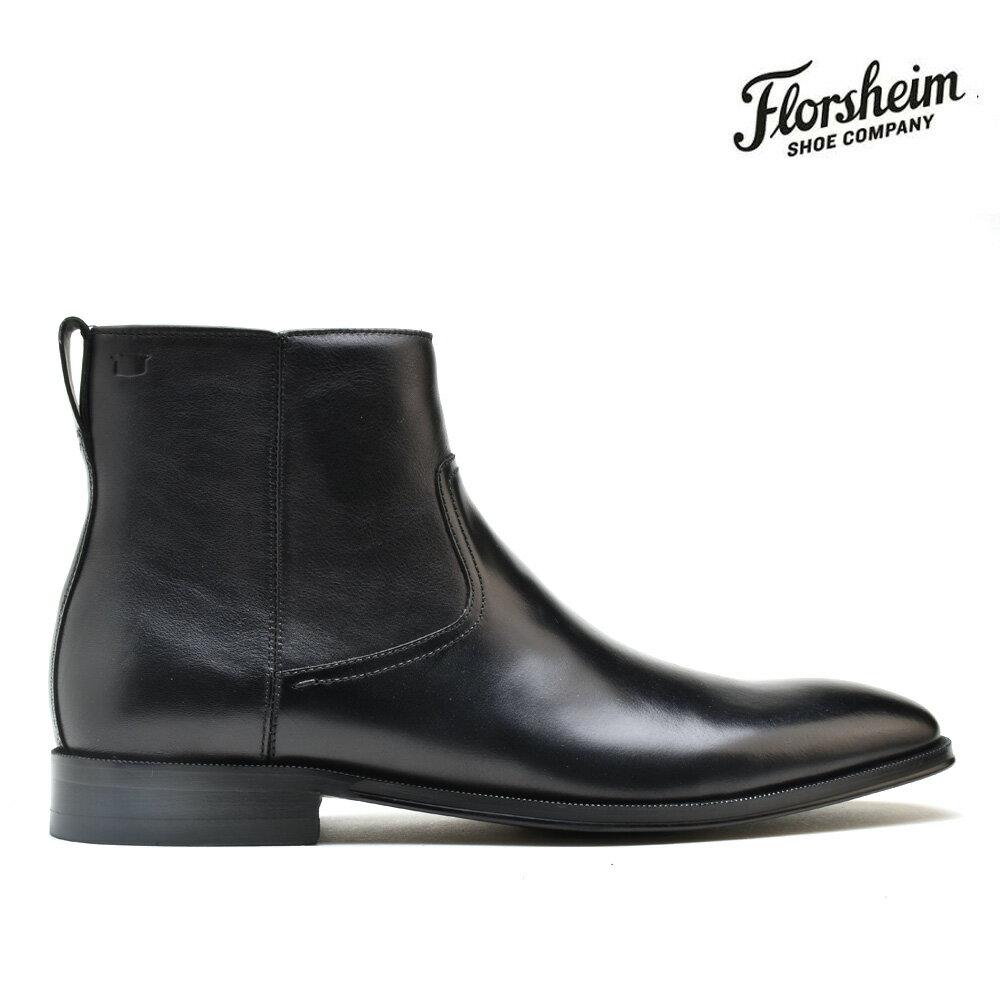 フローシャイム FLORSHEIM 14230-001 BELFAST PLAIN TOE SIDE ZIP BLACK ベルファスト プレイントゥ サイドジップ ブーツ ビジネスシューズ カジュアル ブラック レザー メンズ