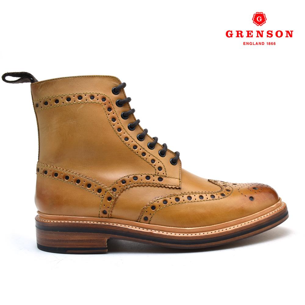 【ラスト1足】UK6.0 24.5cm グレンソン GRENSON FRED CALF 110011 フレッド カーフ 靴 メンズ タン TAN ブーツ