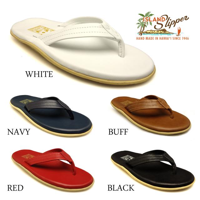 0cf629ba3 ISLANDSLIPPER islands ripper PT202 men resort sandals leather WHITE RED  NAVY BUFF BLACK Hawaii