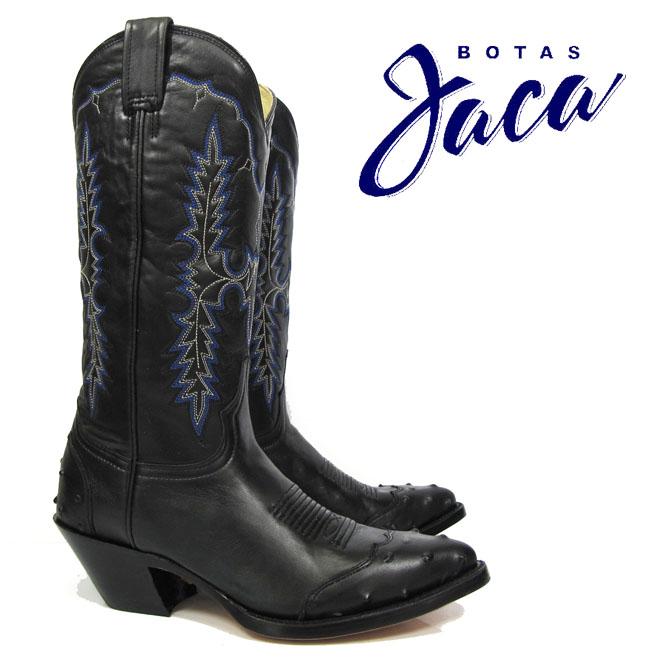 ハカ Botas Jaca 1278 black glaceLADY B.HALF VAMP 13 TUBE Kwestern boots cow boy ウエスタン ブーツカウボーイブーツ ブラック グレース ブルーステッチ