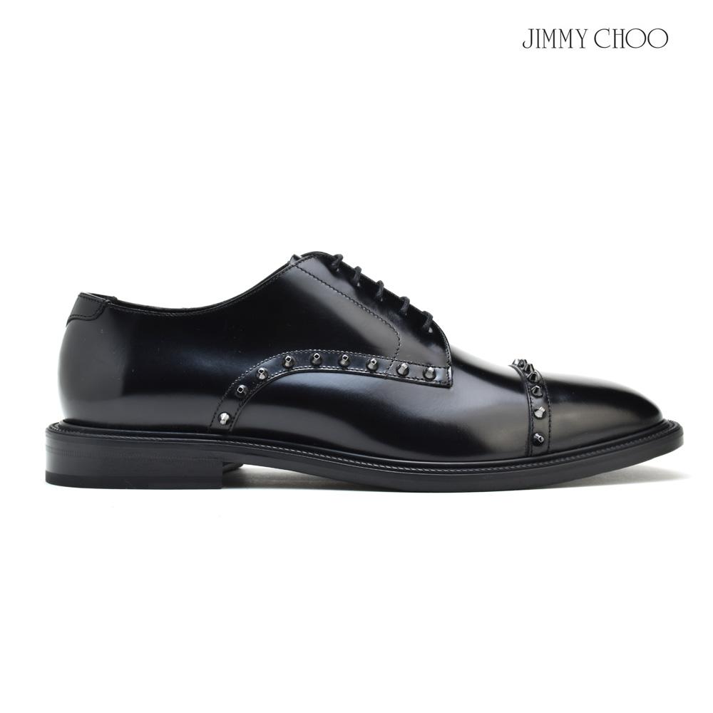 ジミーチュウ JIMMY CHOO PENN HAZ/BLACK シャイニーカーフレザー スタッズ付き レースアップ オックスフォードシューズ ドレスシューズ メンズ ブラック 黒 SHOES BLACK