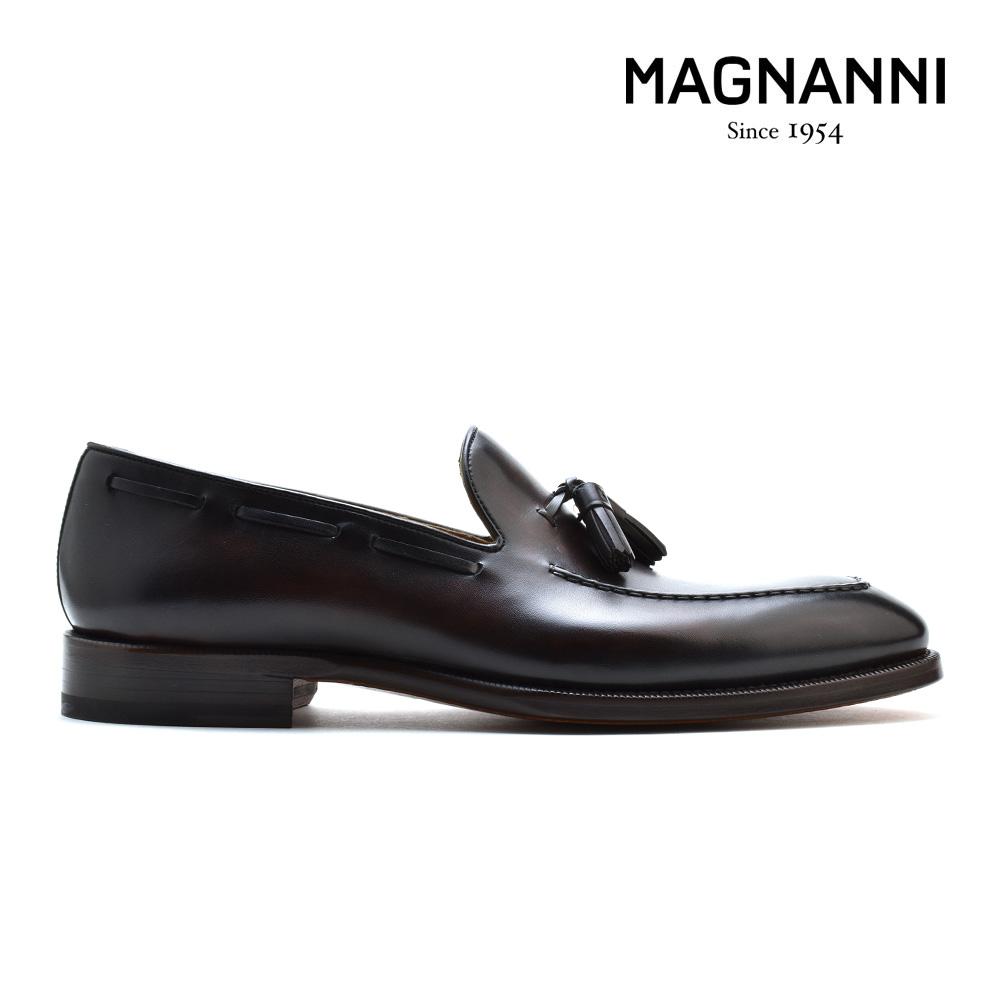 マグナーニ MAGNANNI 21155 MARRON タッセルローファー ドレスシューズ ビジネスシューズ Uチップ 革靴 紳士靴 ダークブラウン系 メンズ