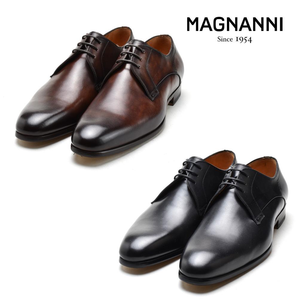 マグナーニ MAGNANNI 22817 NEGRO 654 HENDIDOS FLEX WALNUTS WIND CAOBA ドレスシューズ ビジネスシューズ 革靴 ラウンドトゥ ブラック ブラウン系 メンズ