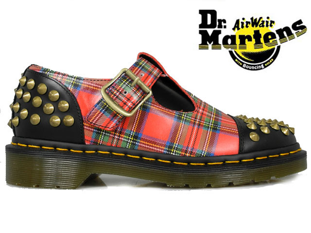 ドクターマーチン Dr.MARTENSLILIHA STUDDED T-BAR15348615 BLACK+RED STEWART