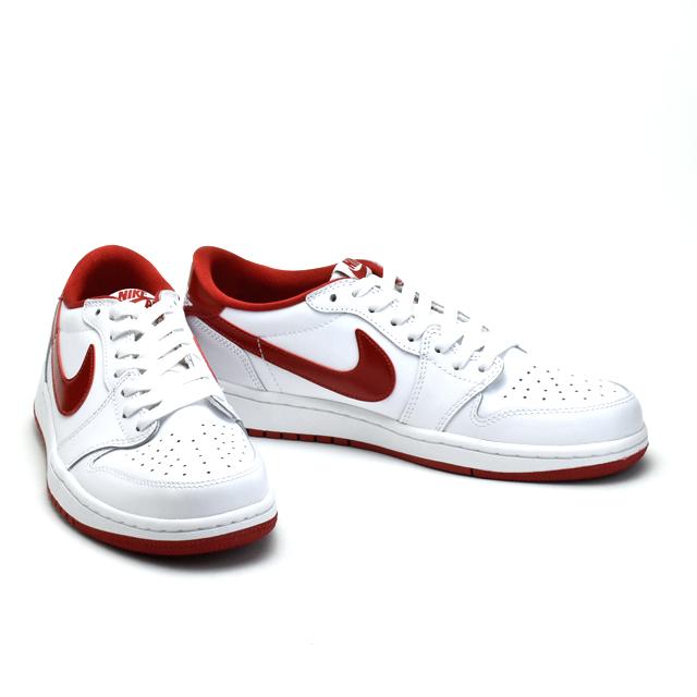 NIKE 나이키 AIR JORDAN 1 에어 조던705329-101멘즈스에이드 복각 레트르 로 컷 RED흰색 화이트 WHITE 스니커