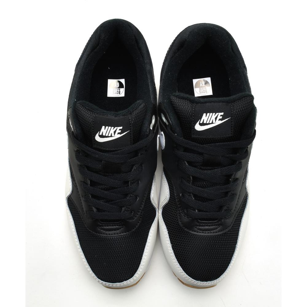 Nike NIKE AIR MAX 1 GS 807,602 011 BLACKWHITELIGHT BONE Air Max 1 GS sneakers running shoes black white Lady's