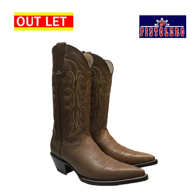 【アウトレット】【左右革色違い】ピストレロ PISTOLERO ウエスタンブーツ 茶 Cafe レザー 本革 カウボーイブーツ 刺繍 ステッチ westernboots cowboy