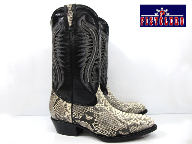 a6b48d997a2 Pistoleros PISTOLERO 2110 western boots and cow boy black python lether  Western boots black leather Python leather cowboy boots snake pattern ...