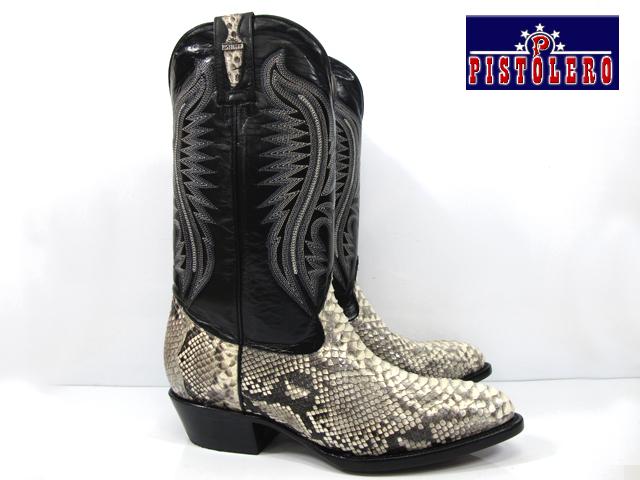 ピストレロ PISTOLERO 2110western boots / cow boyblack python lether ウエスタンブーツブラック レザー パイソン 本革カウボーイブーツ ヘビ柄刺繍 ステッチ