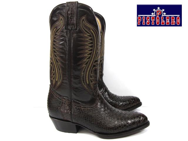 【ラスト1足】ピストレロ PISTOLERO 2114western boots / cow boydark brown python lether ウエスタンブーツダークブラウン レザー パイソン 本革カウボーイブーツ ヘビ柄