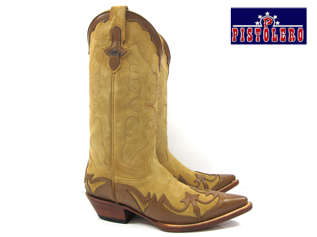 3142ac69217 ピストレロ PISTOLERO 8002 western boots / cow boysand suede X brown leather  western boots cowboy boot leather embroidery stitch beige